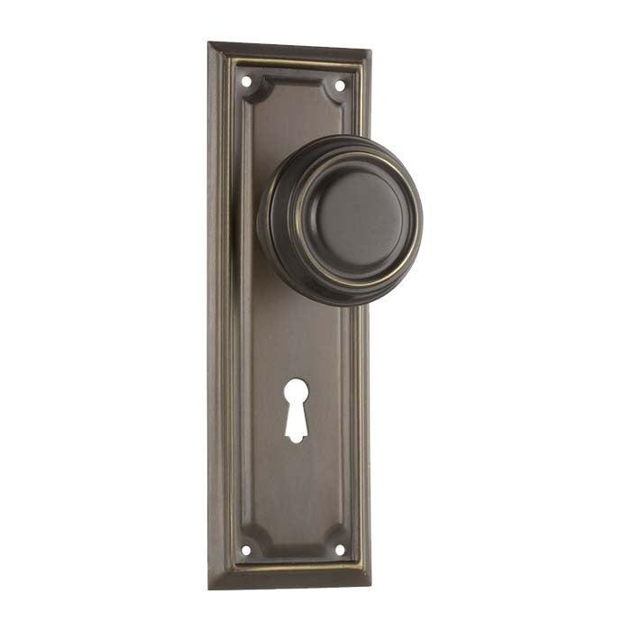 Tradco 0855AB Edwardian Knob Lock SB Antique Brass 185x60mm