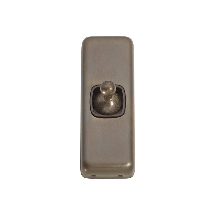 Tradco 5890AB Switch Toggle 1 Gang Antique Brass BR 30x82mm