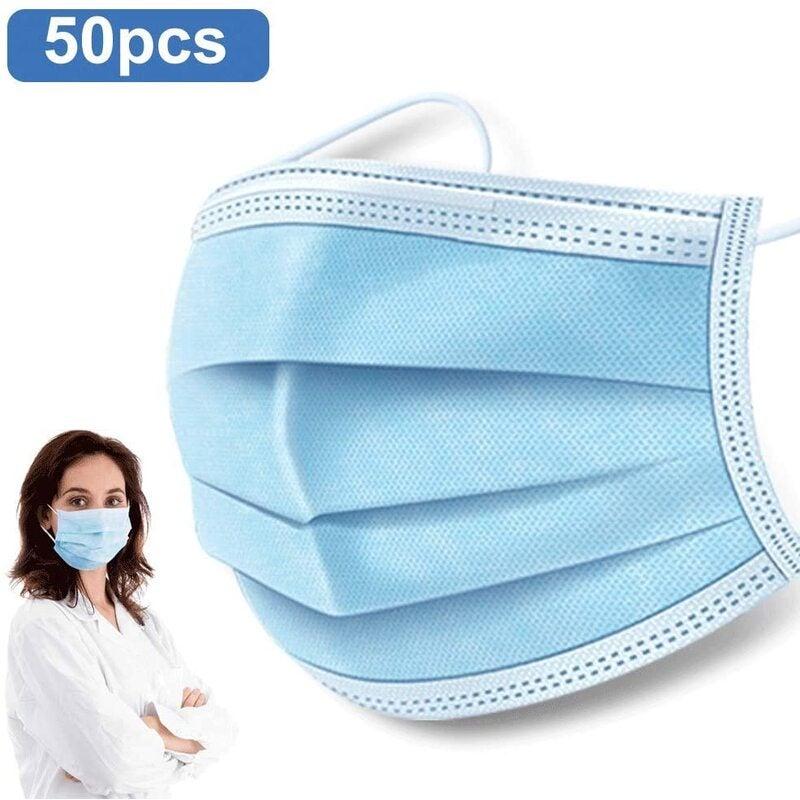 50 PCS Disposable Earloop Face Masks,Level 3 Respirator Masks For protection Surgical Dental Polypropylene Masks for Personal Health Protection