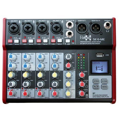E-Lektron SE-6 Live Audio Mixer 6 Channel Mixer incl. USB Bluetooth Soundcard Phantom Power