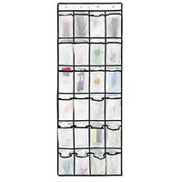 Over the Door Shoe Organizer, 24 Large Mesh Pockets Hanging Shoe Storage Heavy Duty Tidy Rack (WHITE)