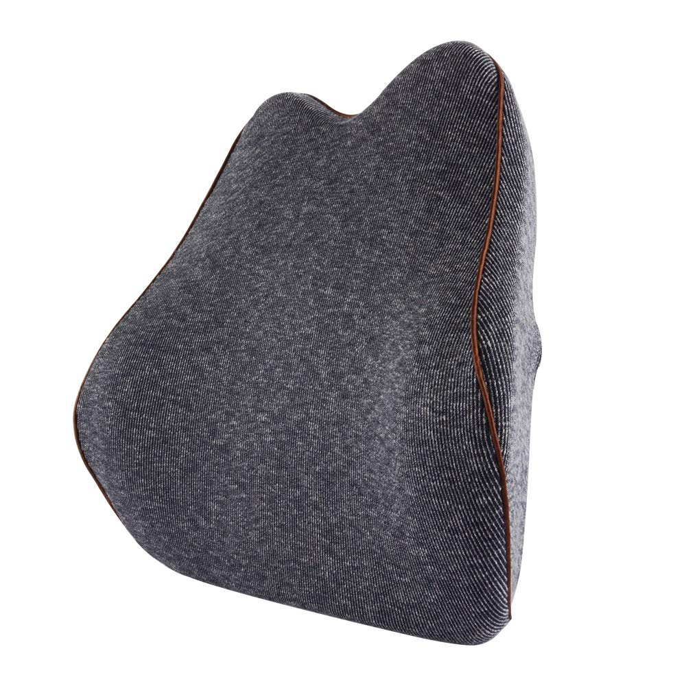 Memory Foam Lumbar Support Back Cushion with Adjustable Strap, Back Pain Relief Rest Pillow for Office Chair, Car Seat