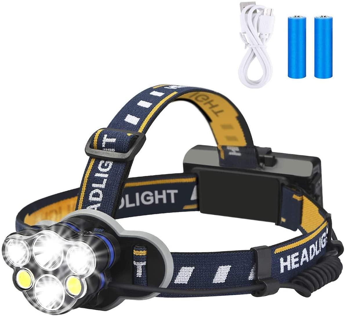 Rechargeable Headlamp, Waterproof LED Head Torch Rechargeable Headlamp Flashlight for Camping, Fishing, Cellar, Outdoors