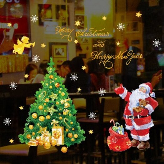 Christmas Tree Santa Claus Window Glass Sticker SK9243- Multi-A