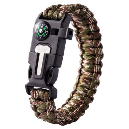 Whistling Flintstone Compass Bracelet Outdoor Device- Camouflage Green