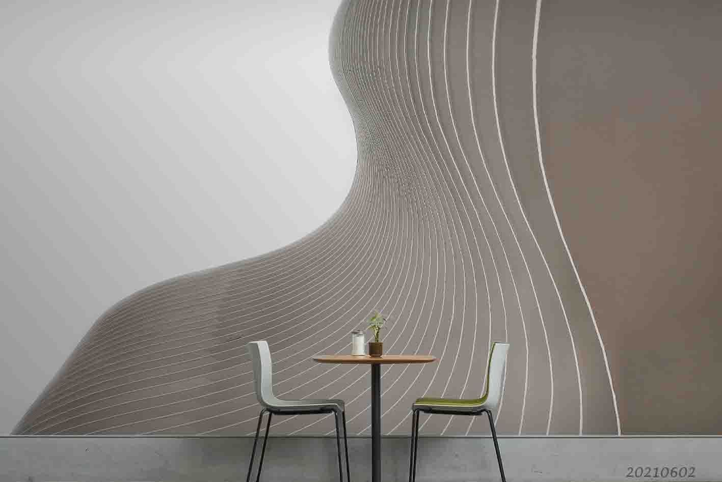 3D Abstract Linear Ripple Effect White Grey Wall Mural Wallpaper SWW927