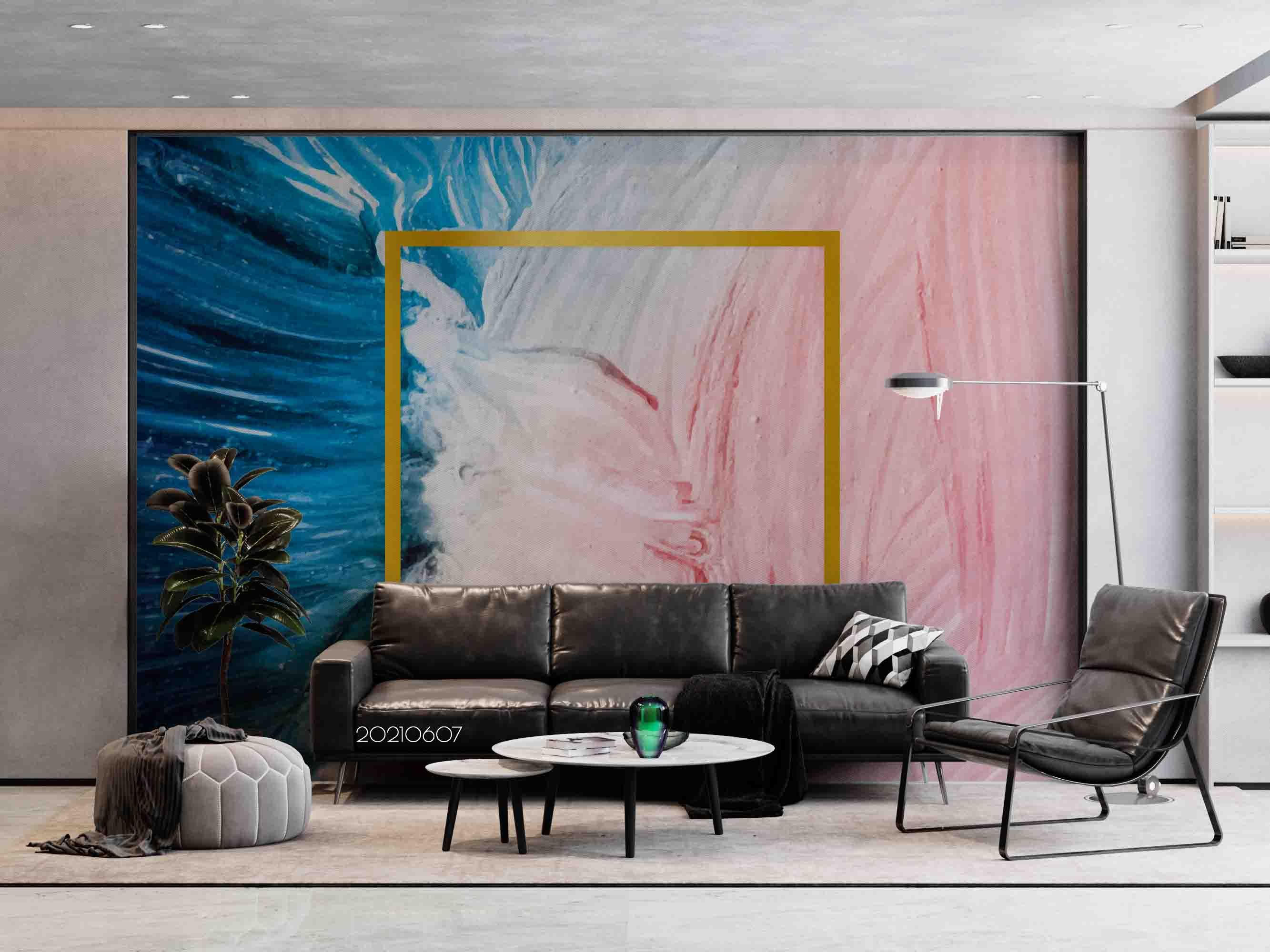 3D Abstract Painting Texture Brush Blue Pink White Wall Mural Wallpaper SWW690