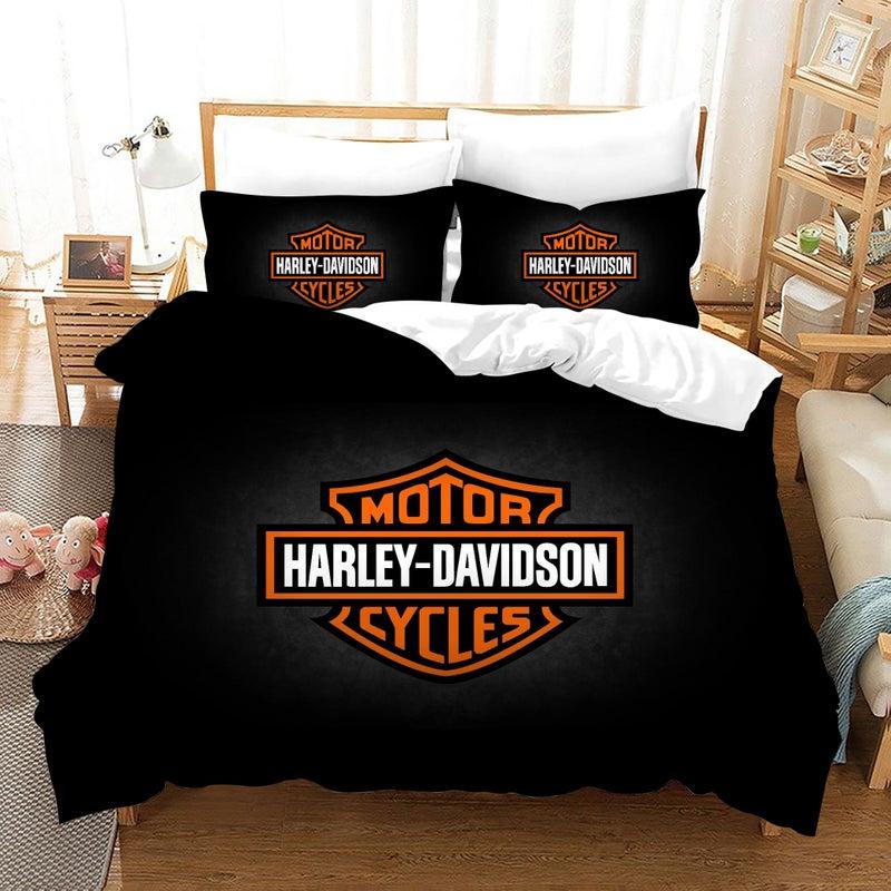 3d Black Harley Davidson Motorcycle, Harley Davidson Queen Size Bed Sheets