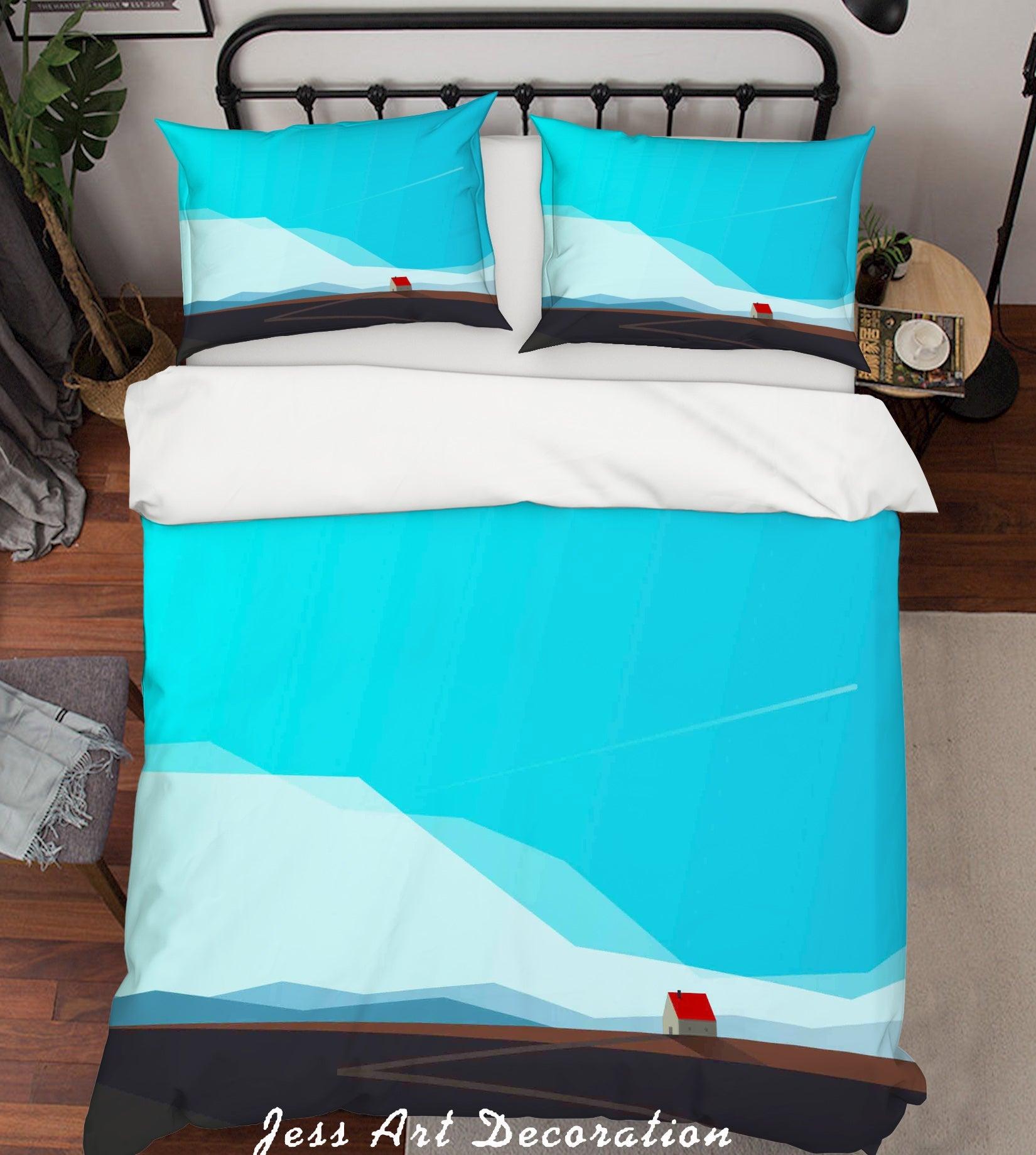 3D Blue Mountains House Meteor Quilt Cover Set Bedding Set Pillowcases 04