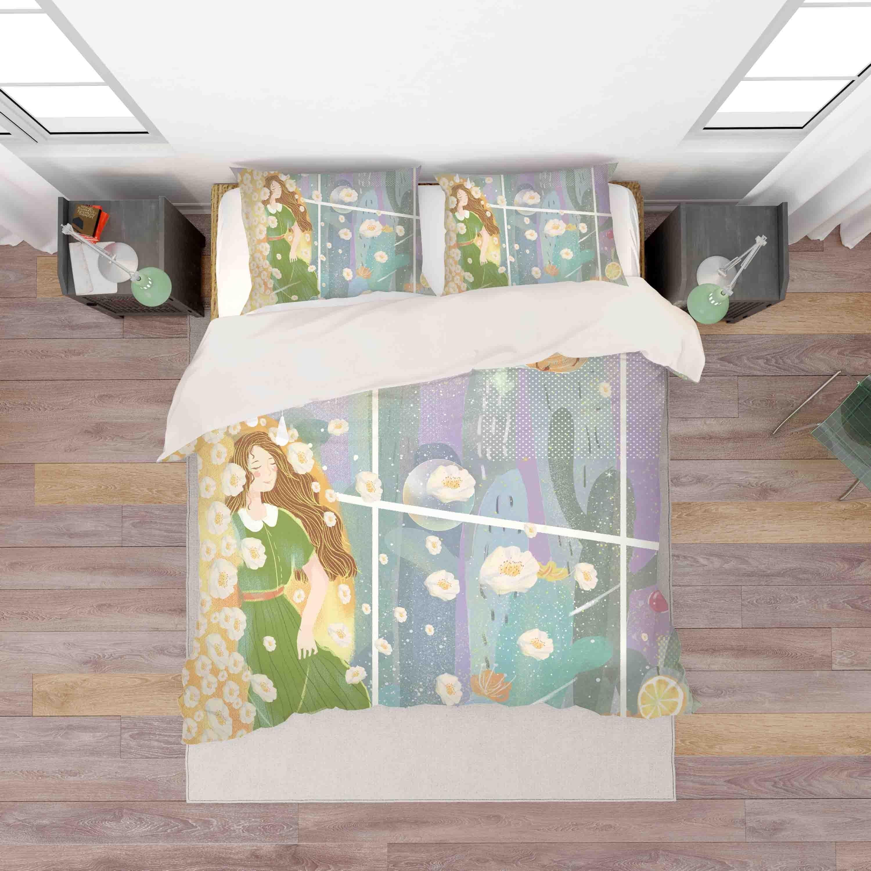3D Cactus Girl Floral Quilt Cover Set Bedding Set Pillowcases 49