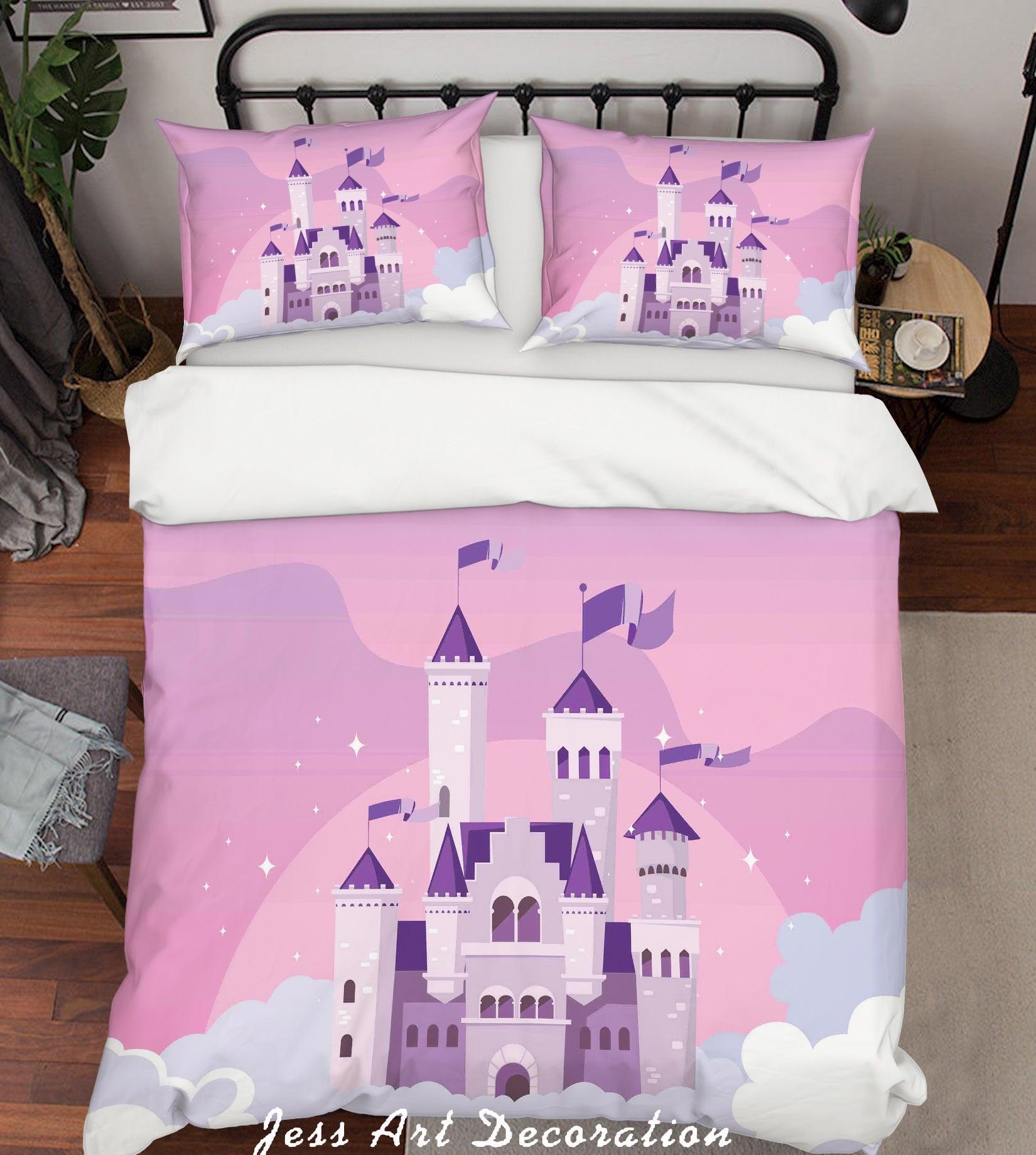 3D Cartoon Pink Castle Quilt Cover Set Bedding Set Duvet Cover Pillowcases A049 LQH