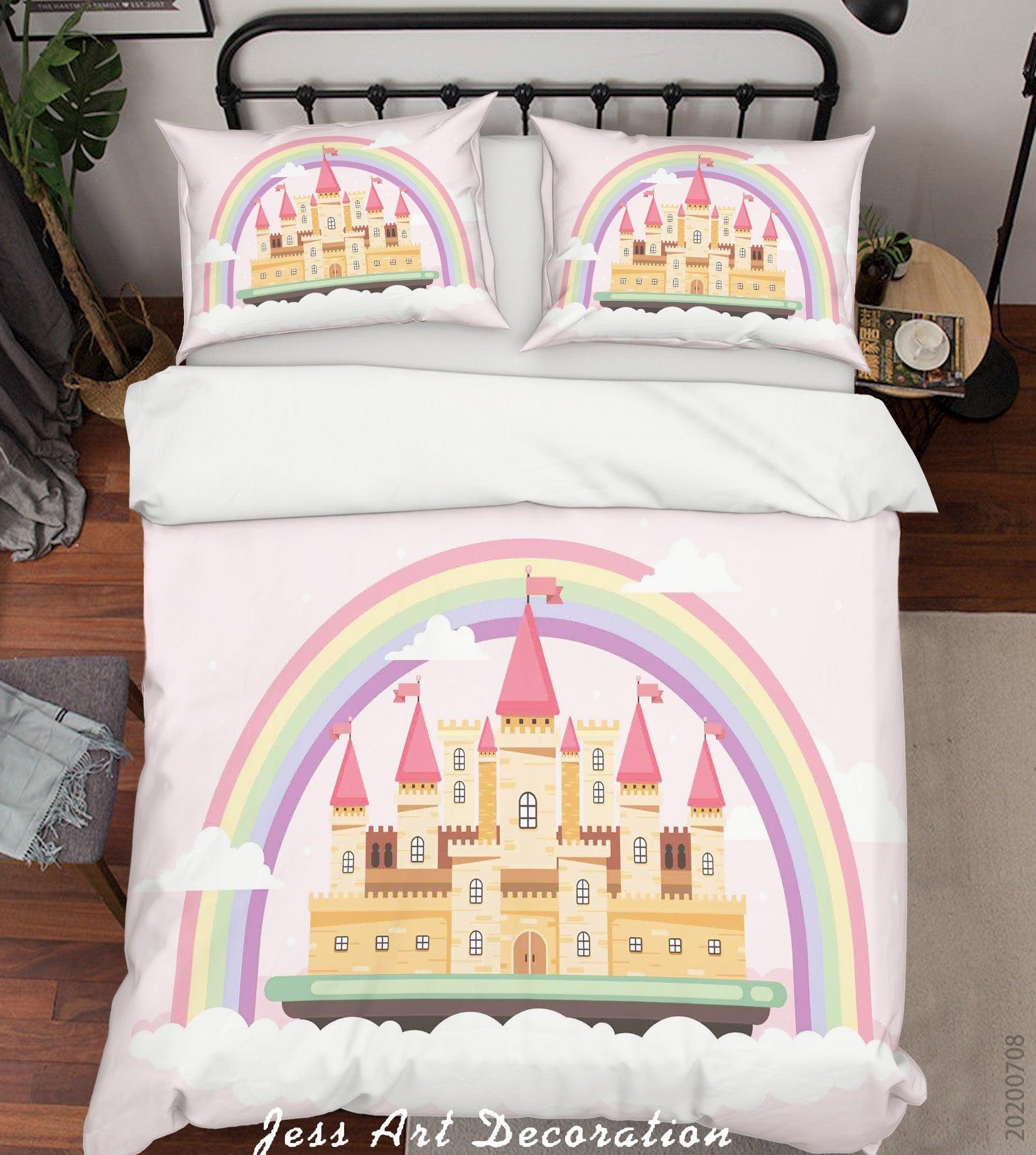 3D Castle Rainbow Quilt Cover Set Bedding Set Duvet Cover Pillowcases SF21