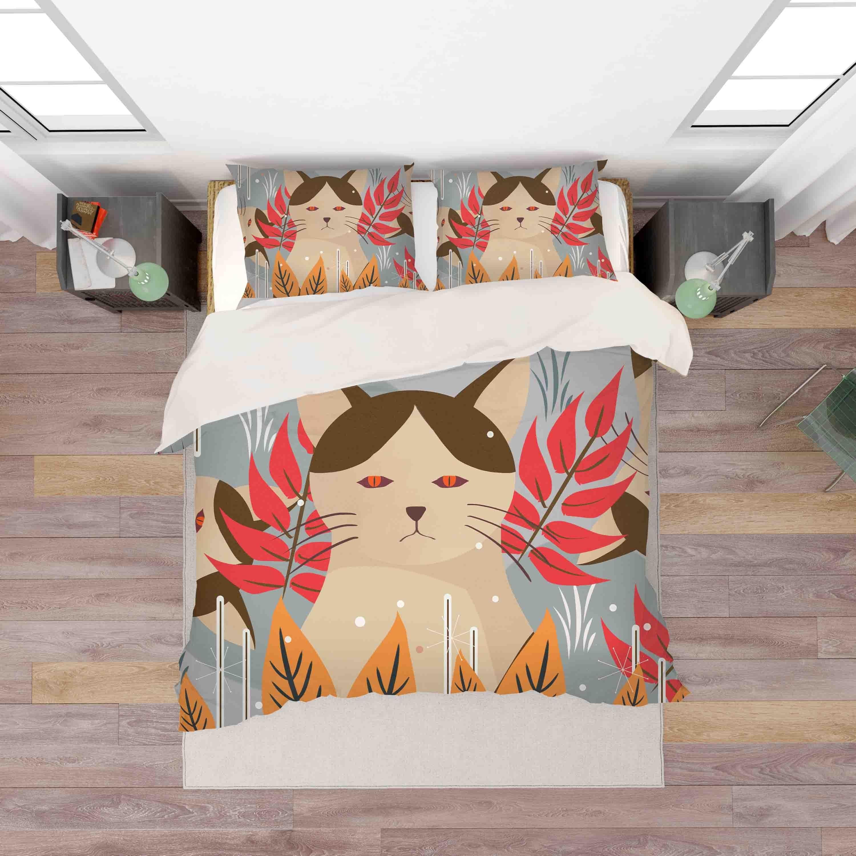 3D Cat Kitty Leaves Quilt Cover Set Bedding Set Pillowcases 125