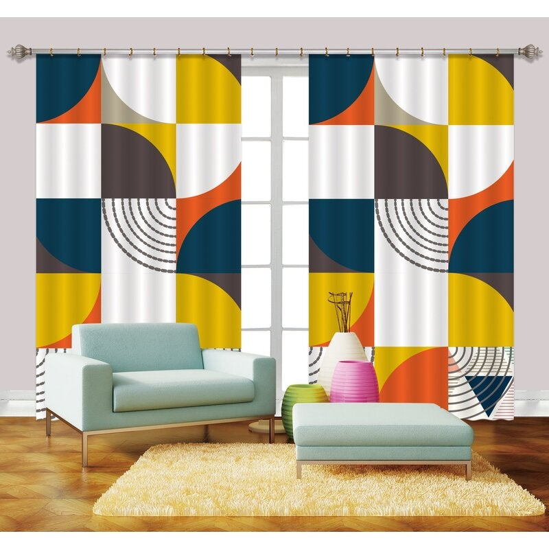 3D Color Abstract Geometry Curtains and Drapes LQH A645