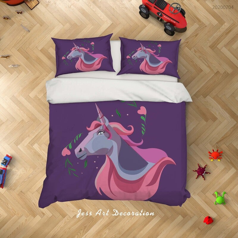 3D Dark Purple Unicorn Quilt Cover Set Bedding Set Duvet Cover Pillowcases SF254