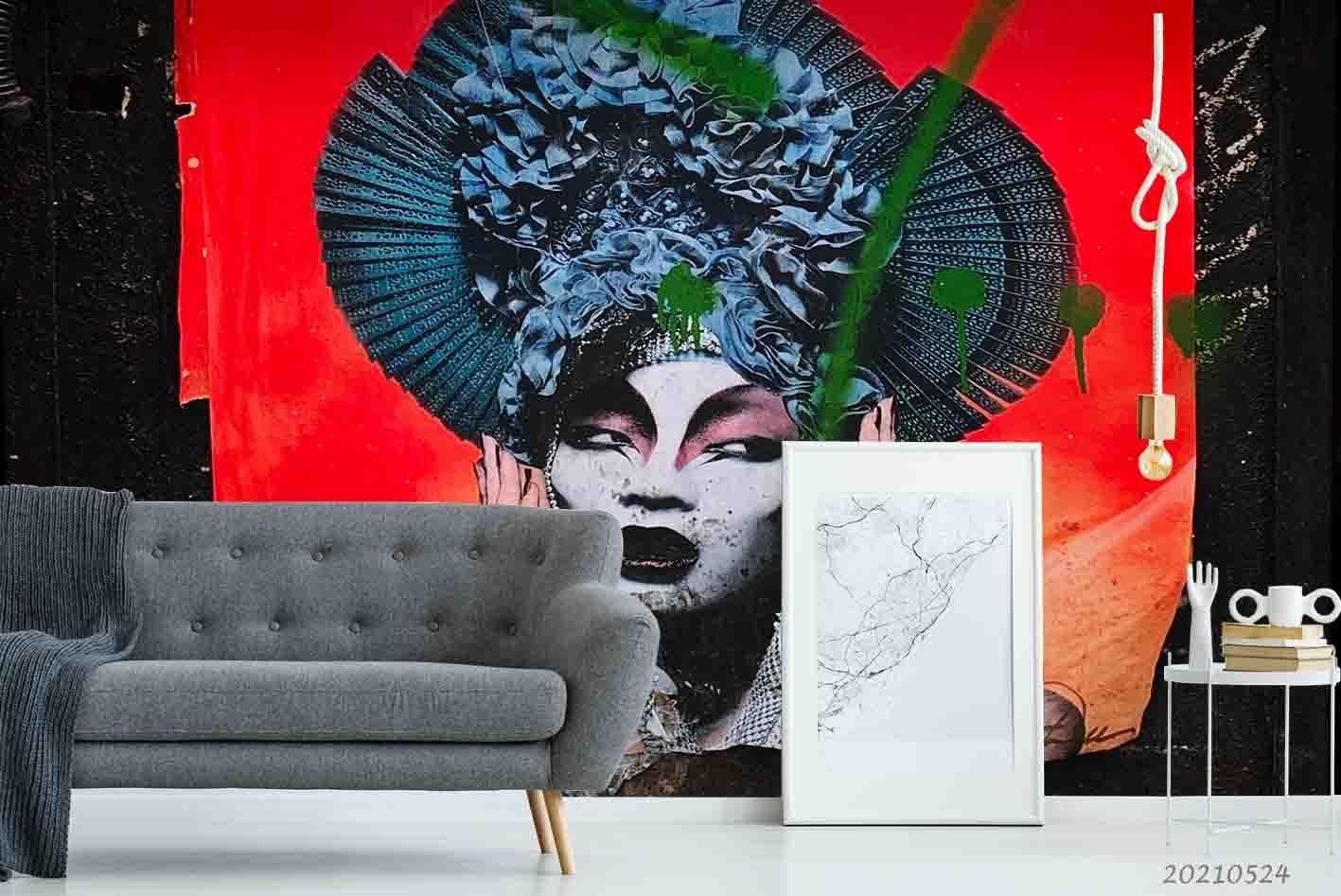 3D Femal Woman Hand-painted Red Background Wall Mural Wallpaper SWW178