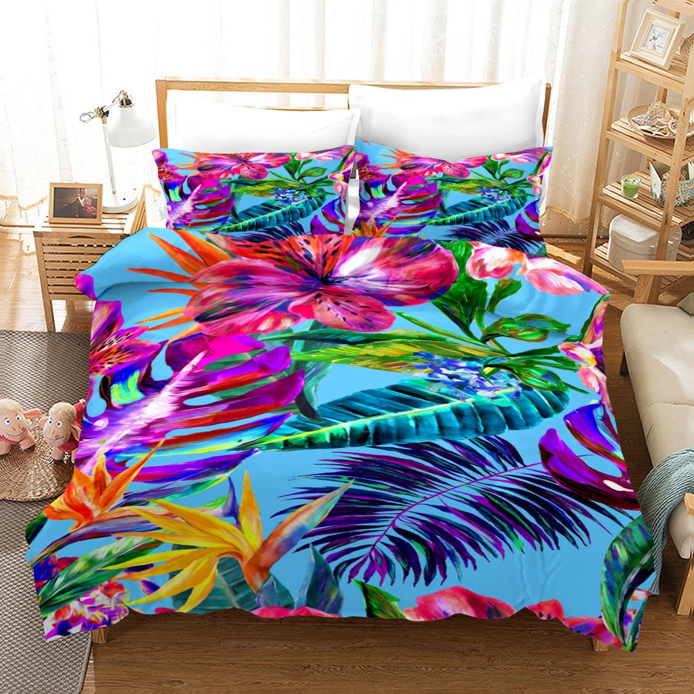 3D Bright-colored Tropical Flowers Quilt Cover Set Bedding Set Pillowcases 32