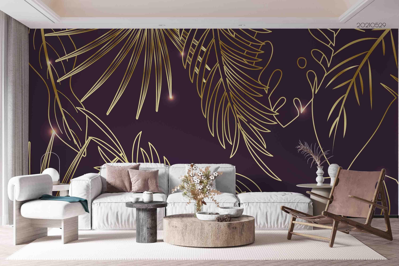 3D Gradient Golden Linear Leaf Wall Mural Wallpaper SWW504