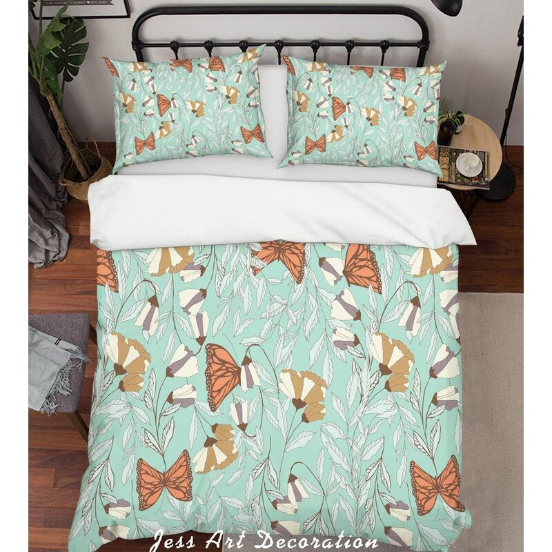 3D Green Butterfly Floral Quilt Cover Set Bedding Set Pillowcases 39