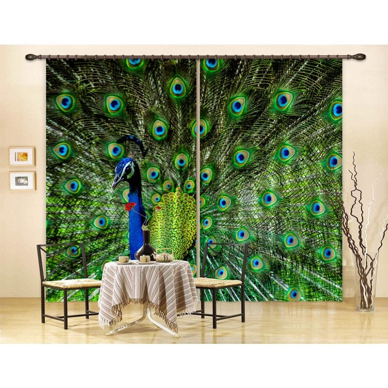 3D Green Peacock Curtains and Drapes LQH A532