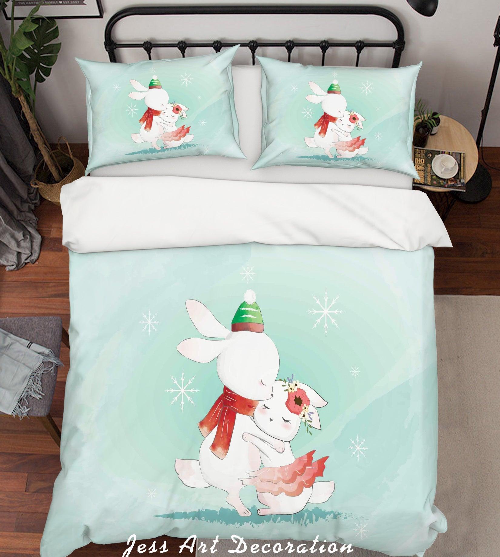 3D Green Snowflake Rabbit Quilt Cover Set Bedding Set Duvet Cover Pillowcases SF62