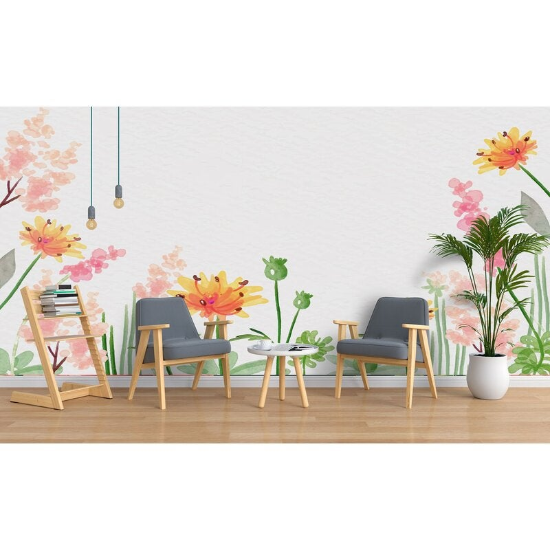 3D Hand Painted Pink Flowers Wall Mural Wallpaper 90