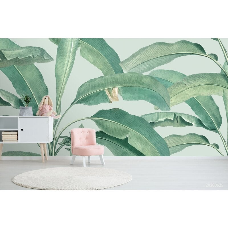 3D Hand Painted Tropical Green Leaves Wall Mural Wallpaper A314 LQH
