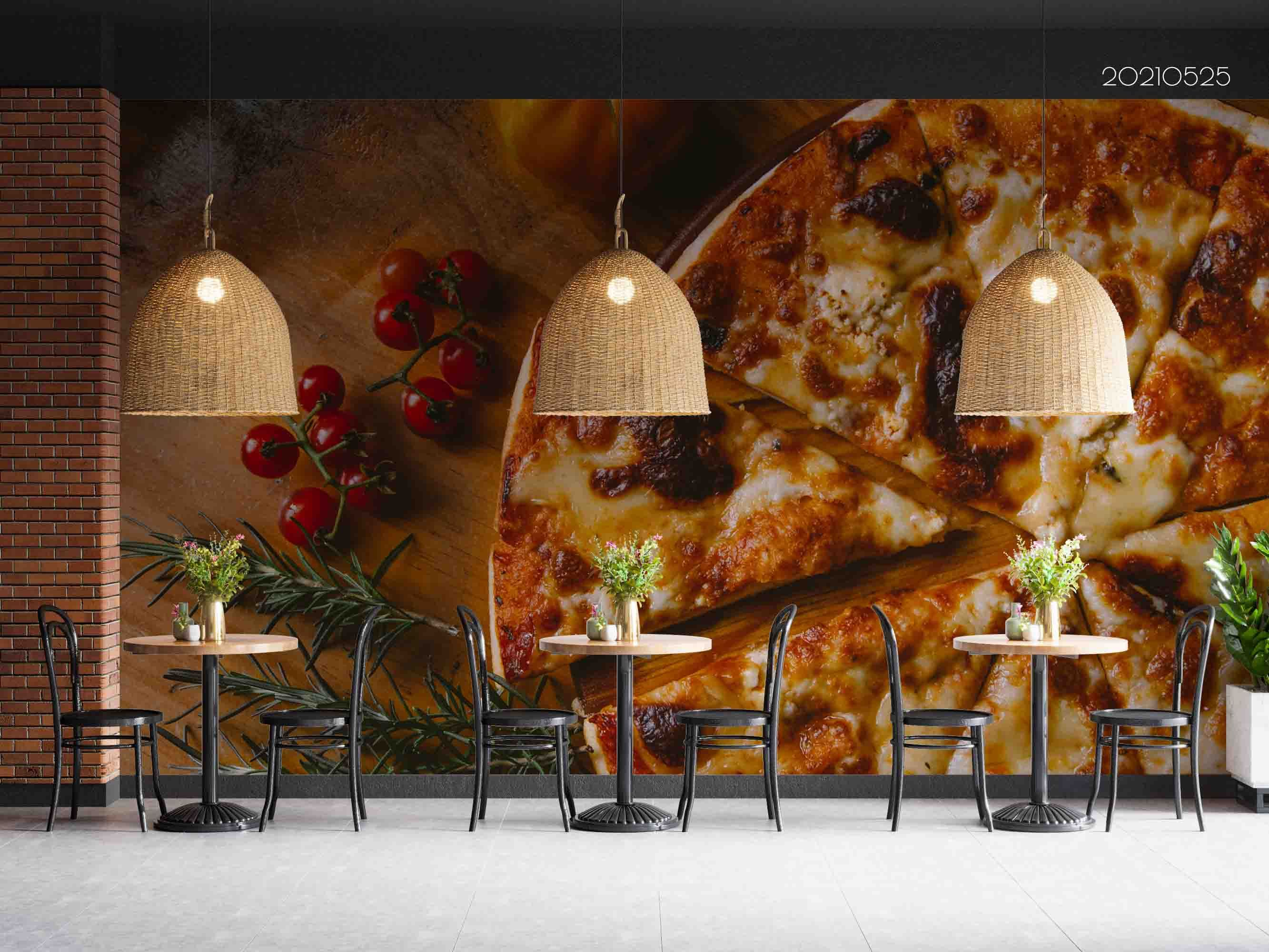 3D Huge Cheese Pizza Tomatoes Wooden Wall Mural Wallpaper SWW52