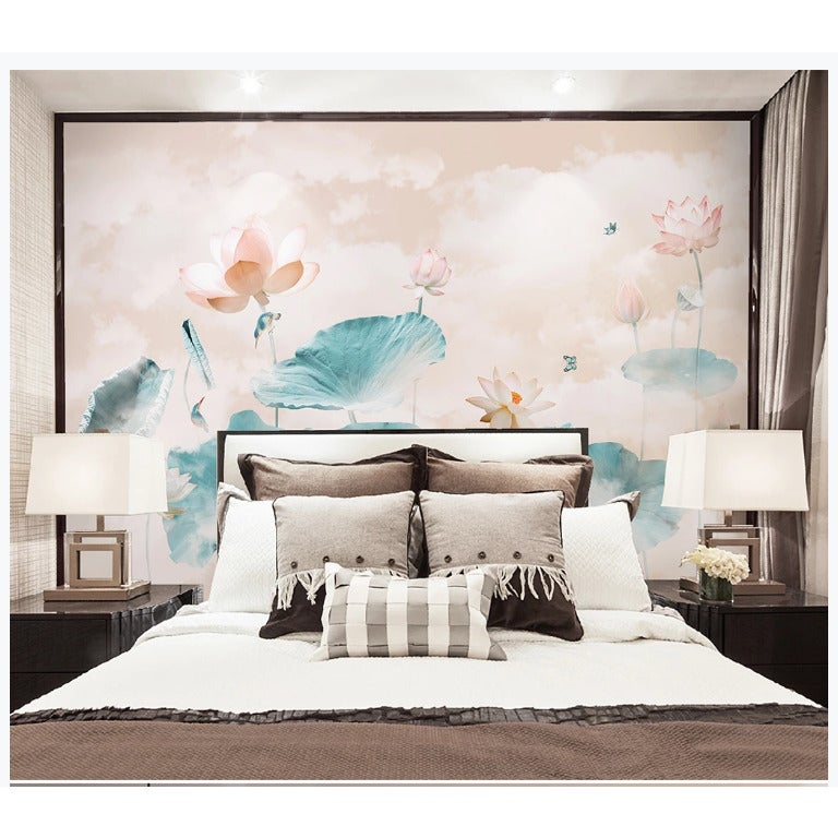 3D ink lotus wall mural Wallpaper 130
