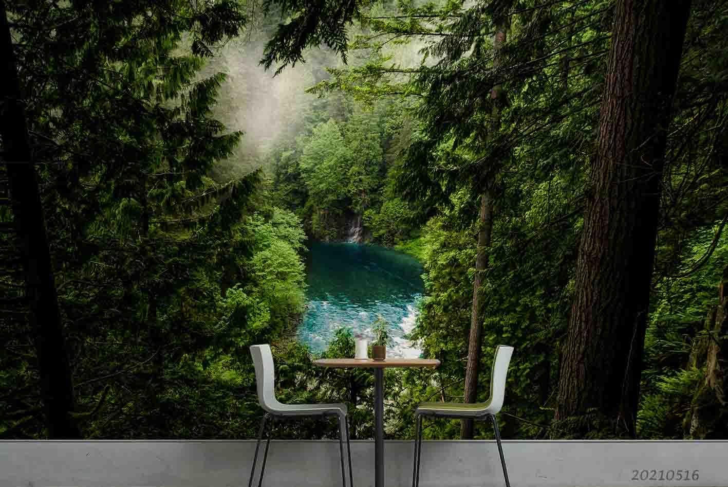 3D Landscape Green Forest Lake Wall Mural Wallpaper LQH 42
