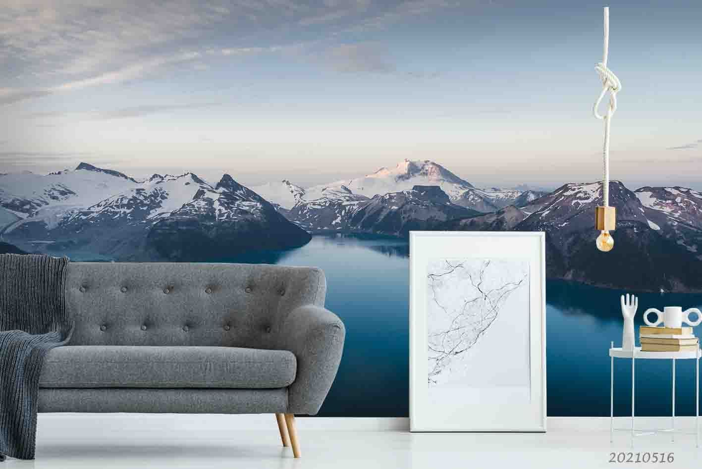 3D Landscape Snow Mountain Lake Wall Mural Wallpaper LQH 31