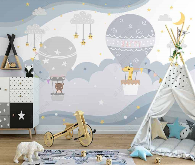 3D Northern Europe Hand-painted Hot Air Balloon Clouds Animal Wall Mural Wallpaper SWW2726