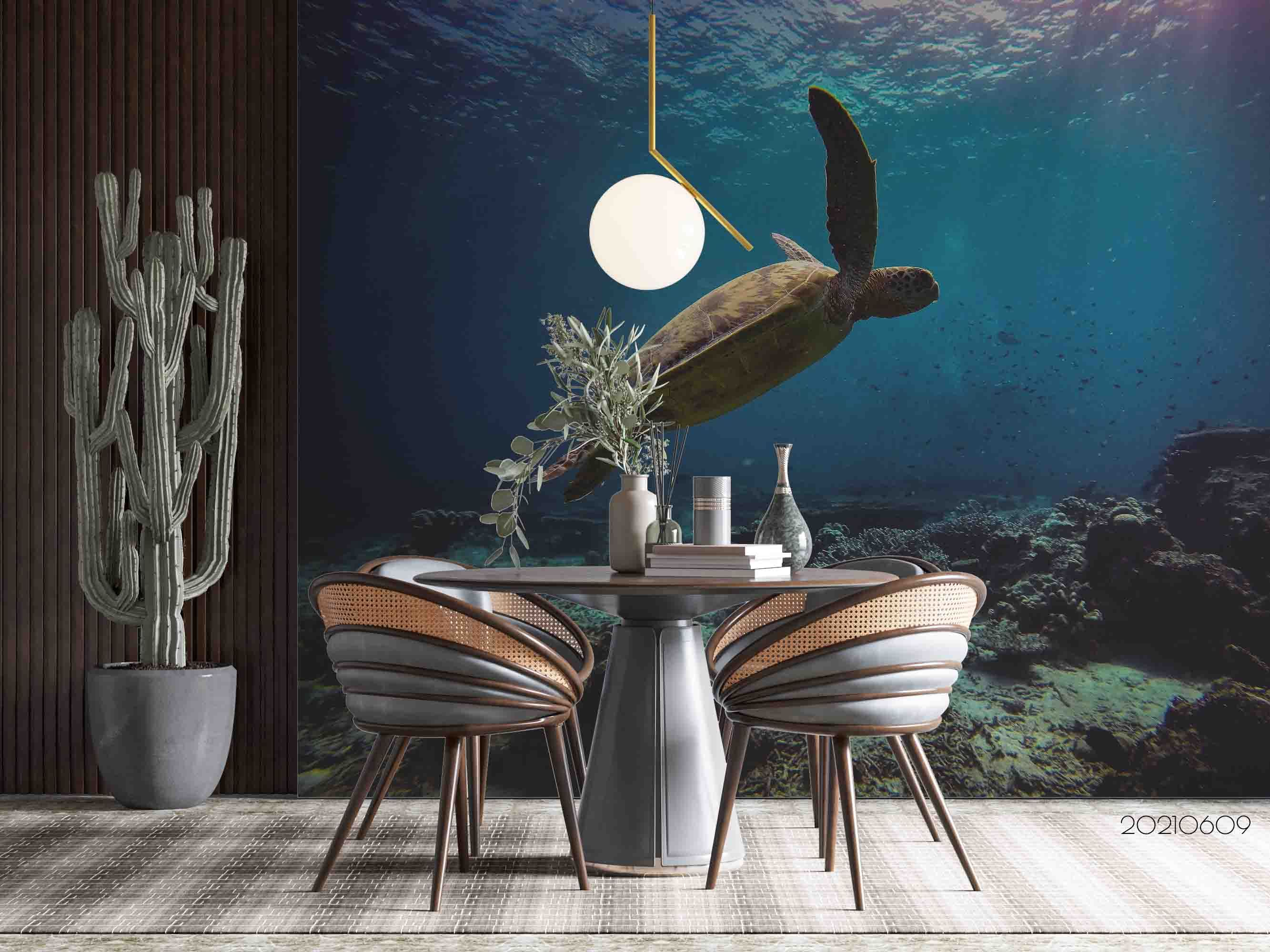3D Oceans Turtle Coral Wall Mural Wallpaper SWW1682