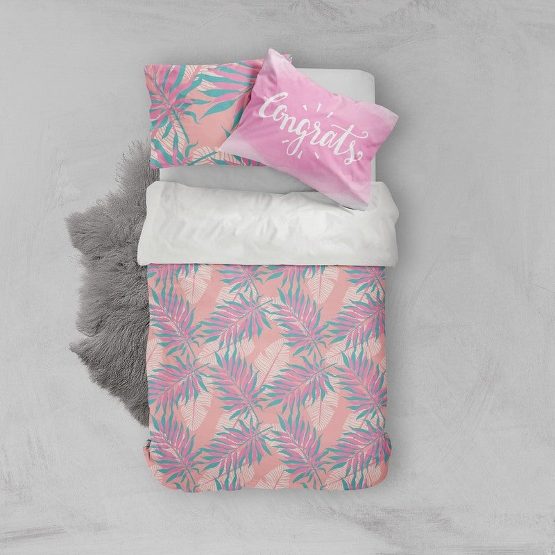 3D Pink Leaves Quilt Cover Set Bedding Set Pillowcases 11