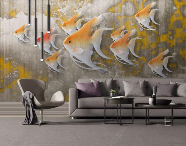 3D Relief Fish Sea Wall Mural Wallpaper SWW2832