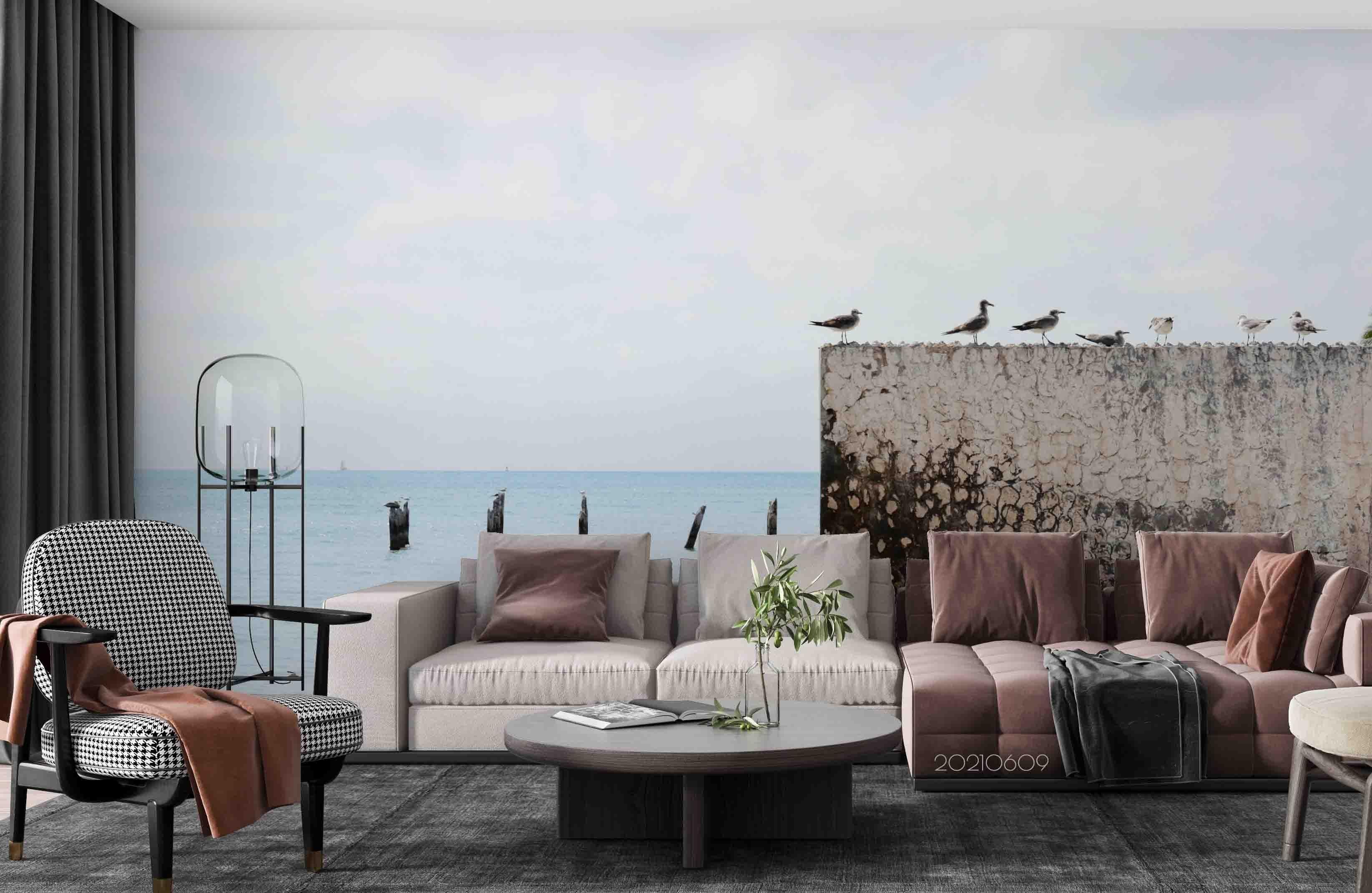 3D Sea Sky Seabirds Wall Mural Wallpaper SWW1683