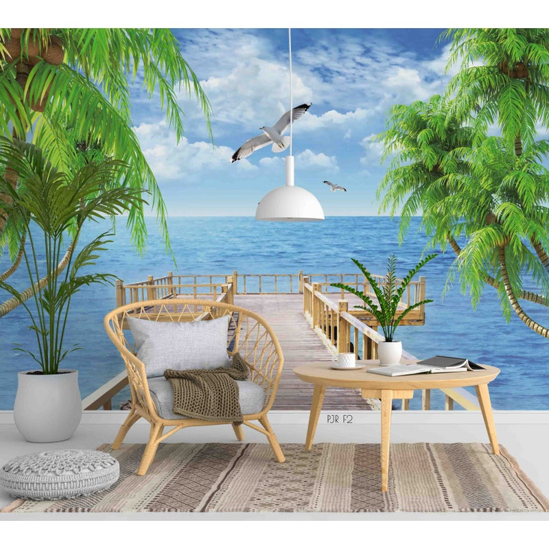 3d Seagull Sea View Tree Mural Wallpaper Wj 1390 Buy Wallpaper Decals 2922104