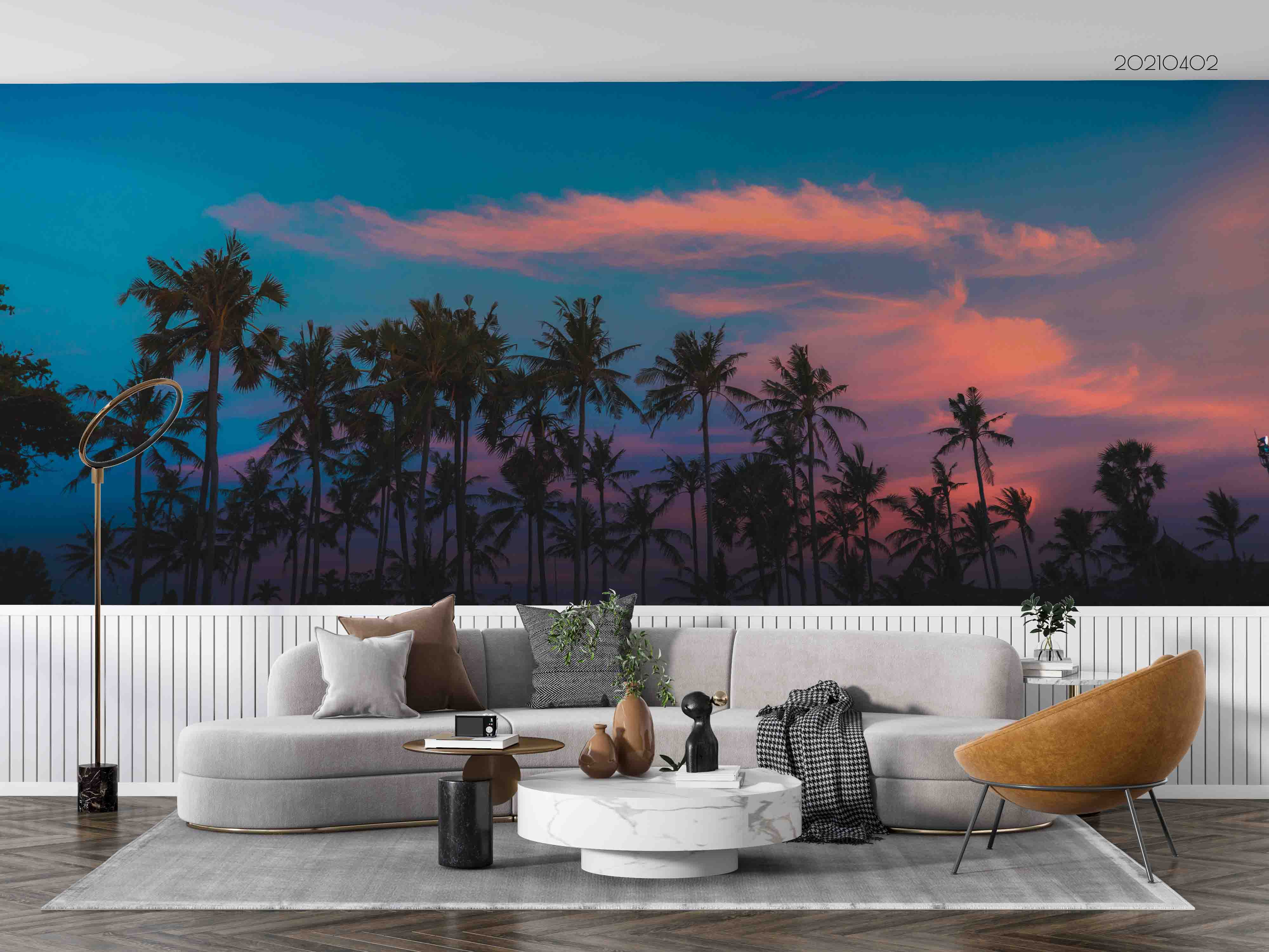 3D Sky Cloud Coconut Tree Wall Mural Wallpaper LQH 80