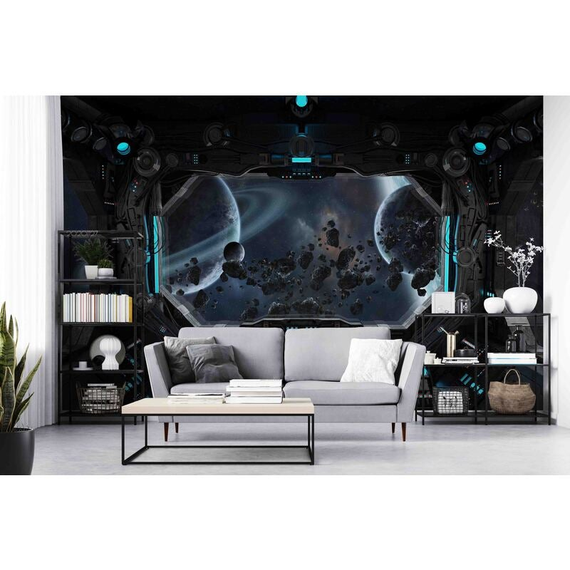 3D Spaceship Window View Space Planet Earth Glowing Wall Mural Wallpaper LXL