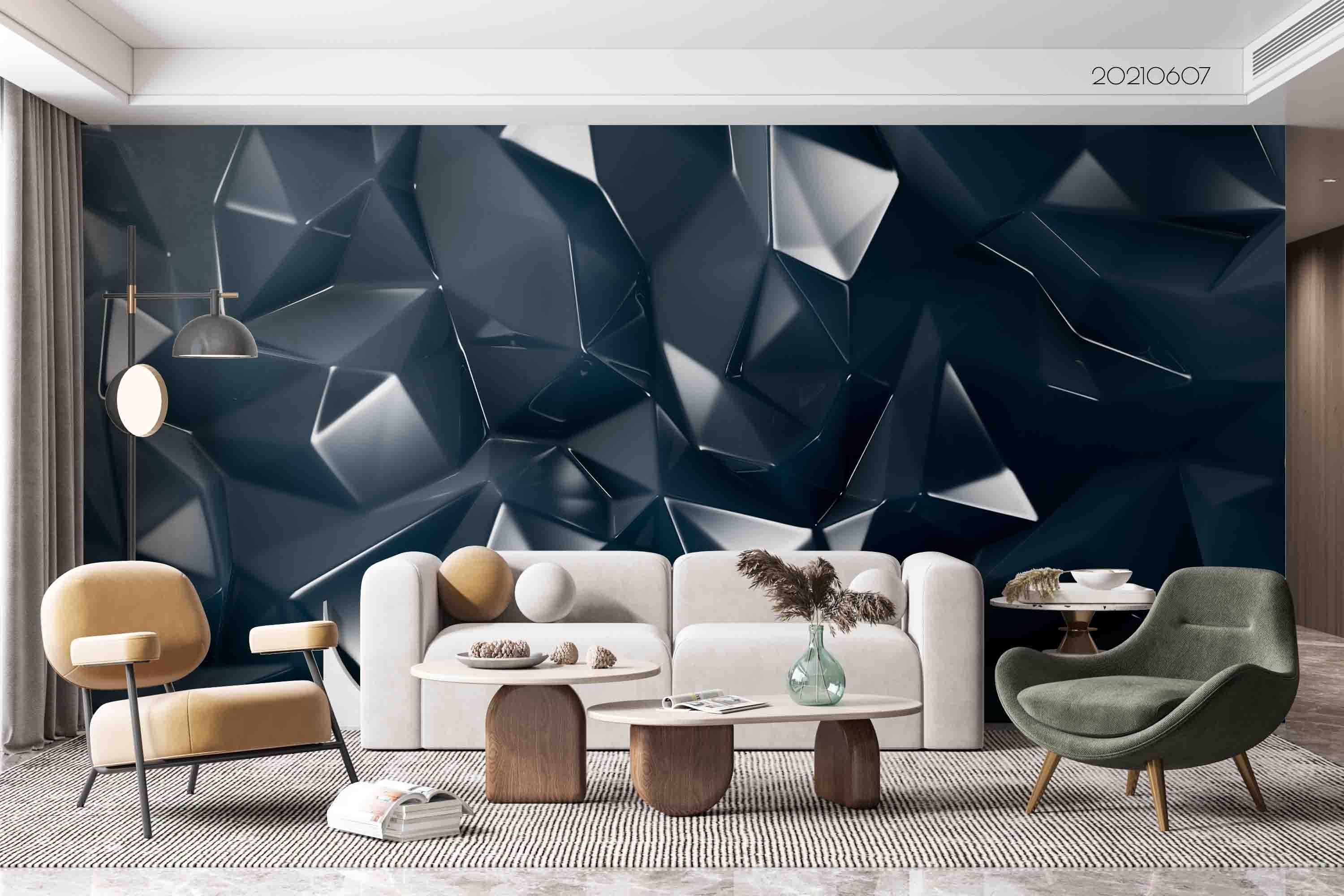 3D Stylish Grey Crystal Rendering Stereo Wall Mural Wallpaper SWW707