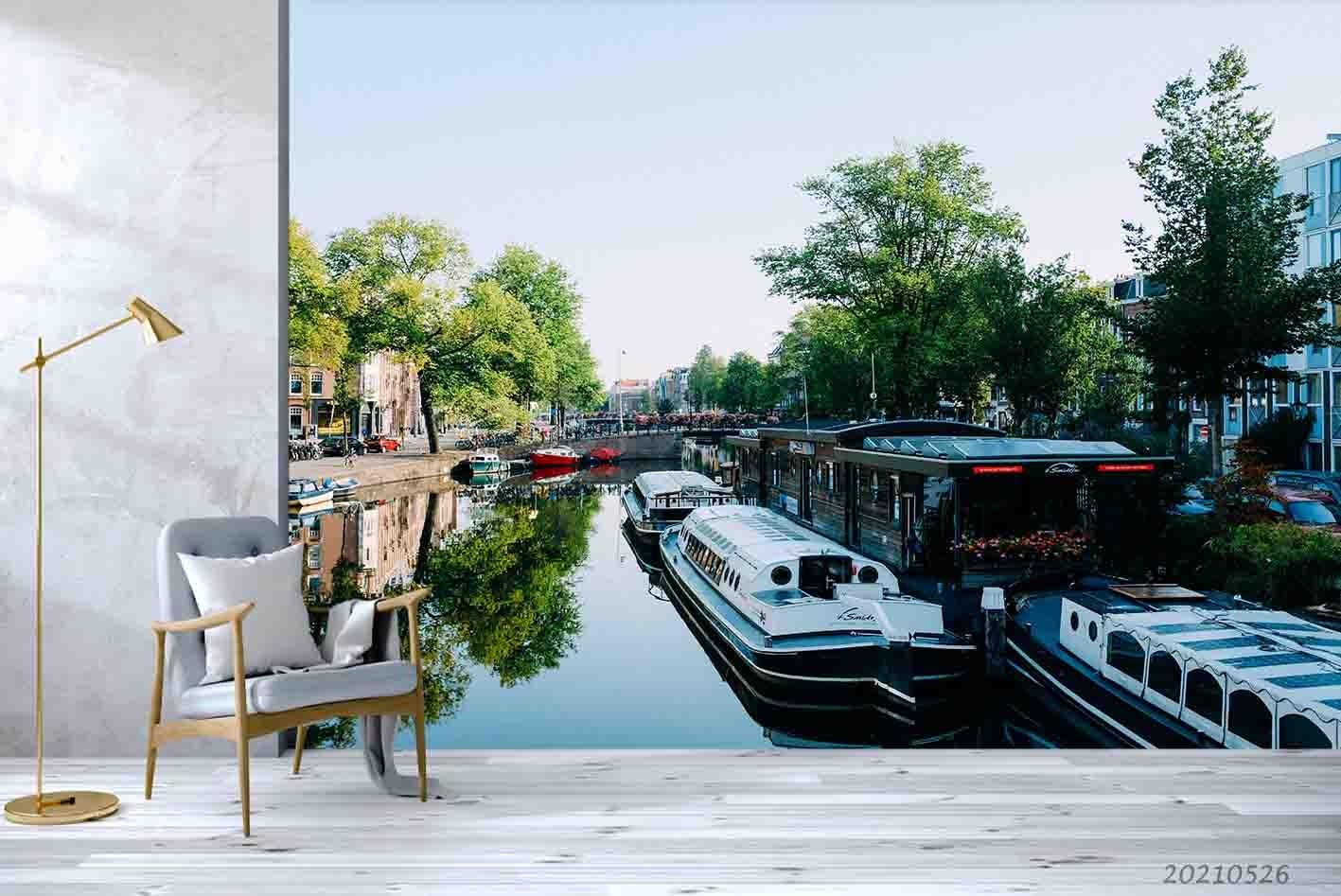 3D Urban Landscape River Boat Wall Mural Wallpaper SWW266