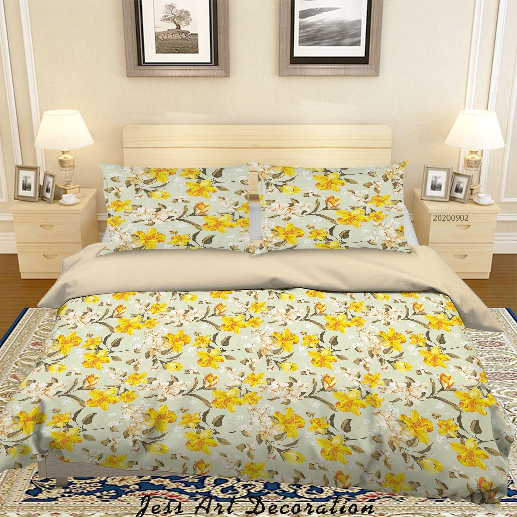 3D Yellow White FLowers Pattern Quilt Cover Set Bedding Set Duvet Cover Pillowcases WJ 1418