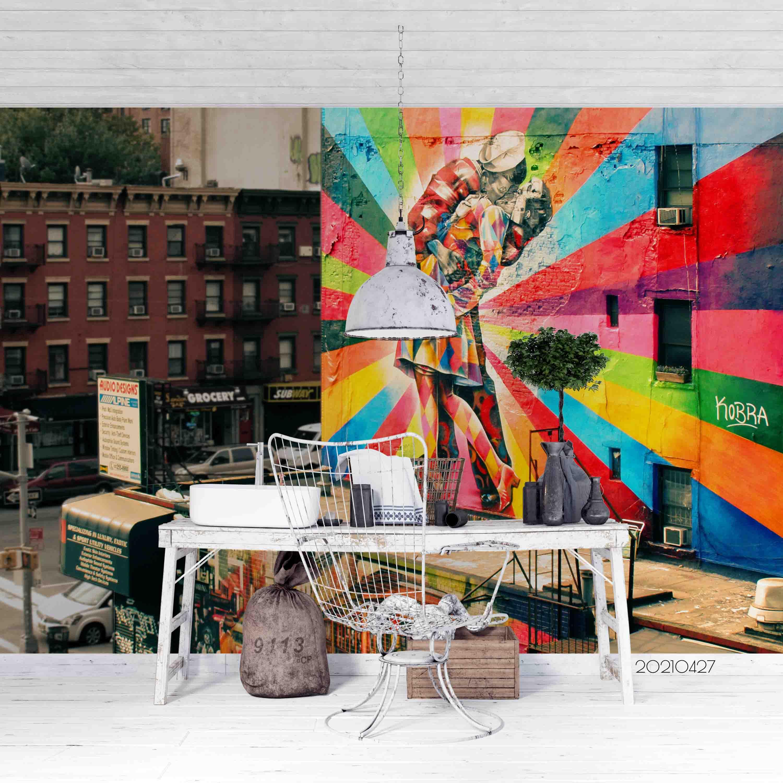 3D Abstract Color Art Street Graffiti Wall Mural Wallpaper LQH 105