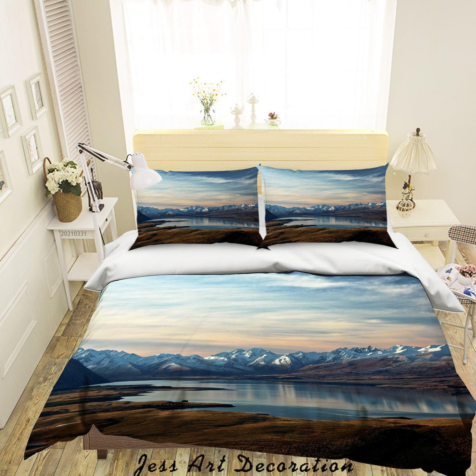 3D Sky Mountain Lake Landscape Quilt Cover Set Bedding Set Duvet Cover Pillowcases 309