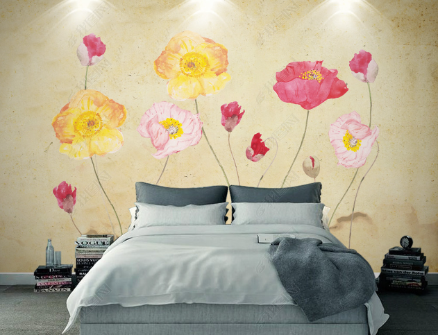 3D Hand Drawn Colorful Floral Wall Mural Wallpaper LQH 272