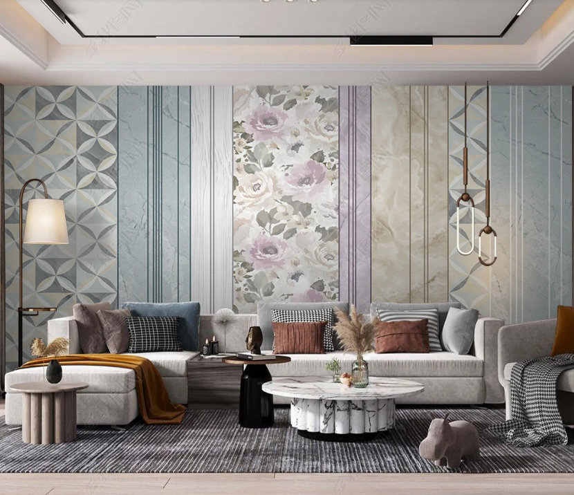 3D Abstract Marble Floral Wall Mural Wallpaper LQH 230