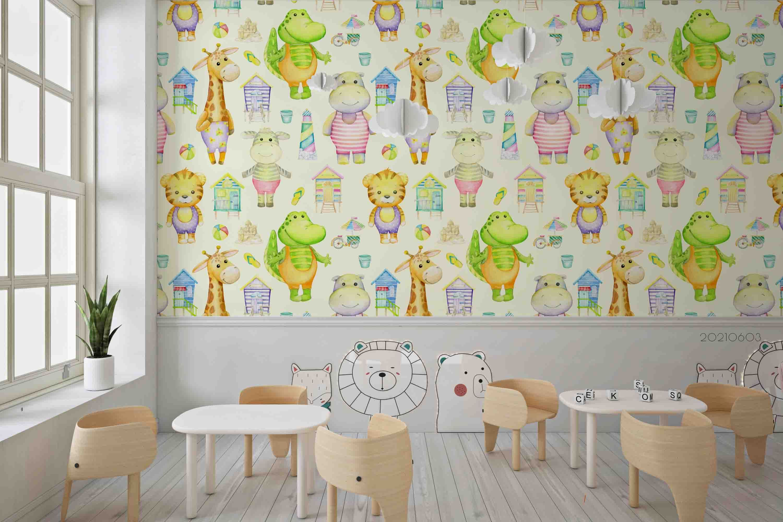 3D Animal Cute Cartoon Pattern Color Wall Mural Wallpaper SWW561