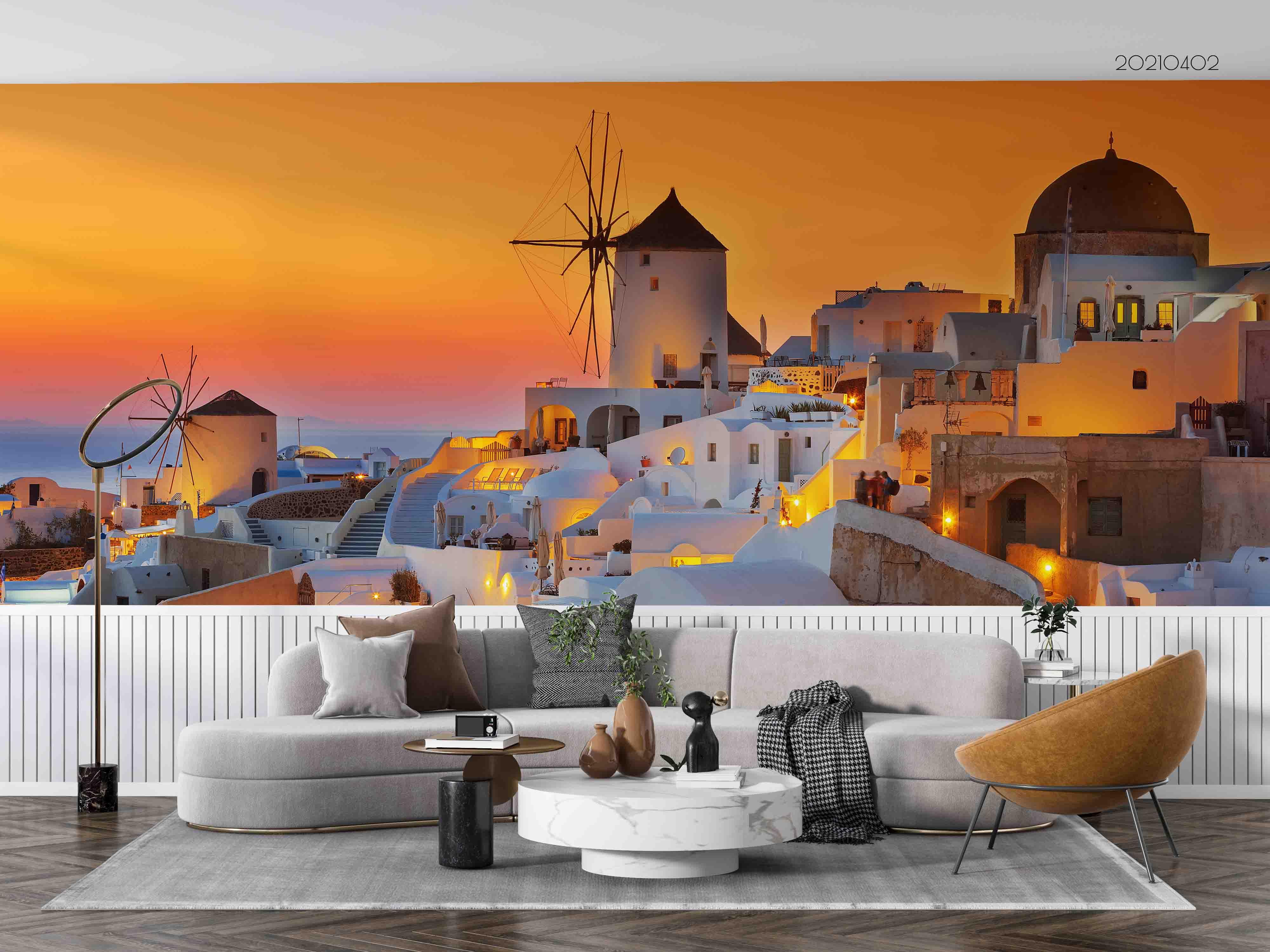 3D Sunset Sky Aegean Sea Landscape Wall Mural Wallpaper LQH 123