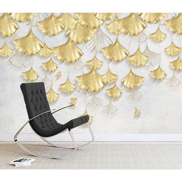 3D Golden Ginkgo Leaf Wall Mural Wallpaper LQH 296