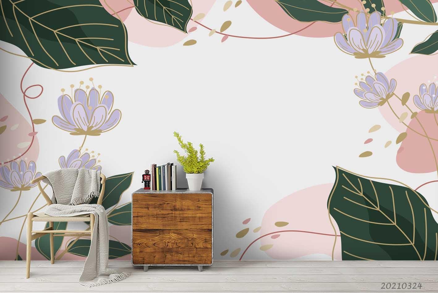 3D Watercolor Floral Leaves Wall Mural Wallpaper LQH 10